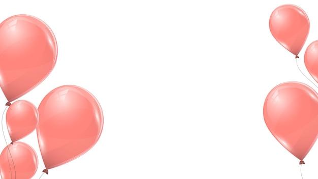 Rosa luftballons isoliert auf weißem hintergrund