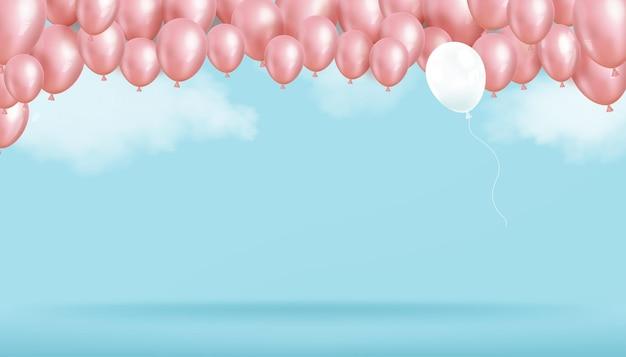 Rosa luftballons und wolken schweben auf blauer himmelswand 3d