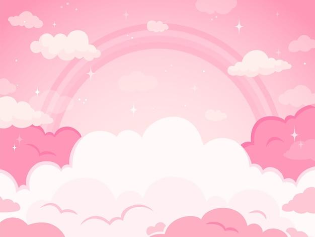 Rosa märchenhimmelhintergrund mit sternen und regenbogen. weiße und pastellfarbene wolken für die imaginäre welt. fantasie, magischer schöner landhintergrund, fabelhafte himmelsvektorillustration des abends