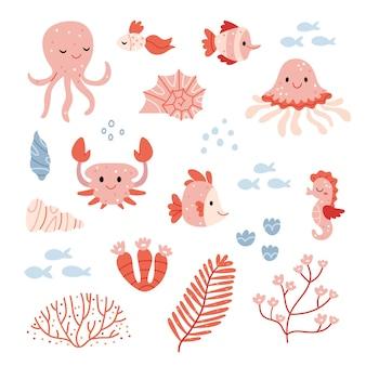 Rosa meer-setset mit marinen unterwassertierenset mit marinen unterwassertieren