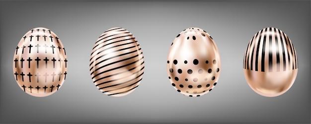 Rosa metallische eier mit schwarzem kreuz