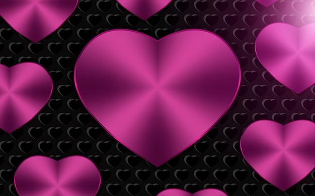 Rosa metallisches herz formt hintergrund