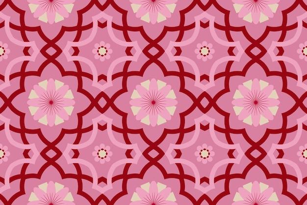Rosa moderne marokkanische ethnische geometrische fliese mit blumenmuster orientalisches nahtloses traditionelles muster. design für hintergrund, teppich, tapetenhintergrund, kleidung, verpackung, batik, stoff. vektor. Premium Vektoren