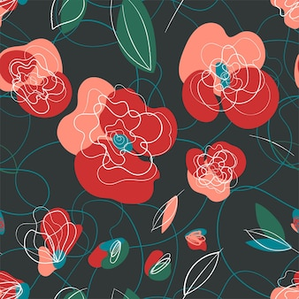 Rosa mohn im vintage-stil. sommergarten textur. landschaftsmuster. dunkler hintergrund
