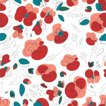 Rosa mohnblume im vintage-stil. frühlingsblumenmuster