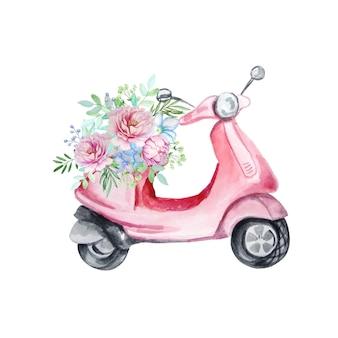 Rosa moped mit einem blumenstrauß