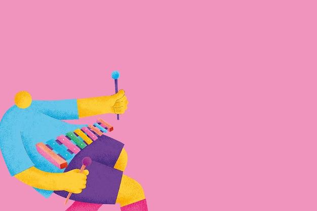 Rosa musikalischer hintergrundvektor mit flacher grafik des xylophonistenmusikers
