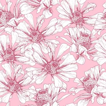Rosa nahtloses muster für romantisches tapetendesign