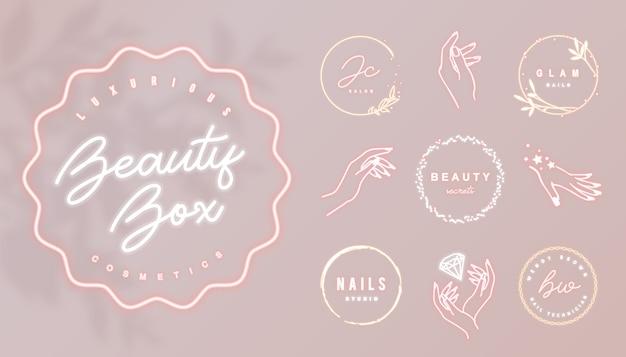 Rosa neon-geschäftslogo mit rundem leuchtendem rahmen und weiblichen handikonen