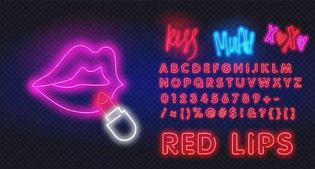 Rosa neonlippen mit lippenstiftillustration