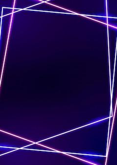Rosa neonrahmen auf dunklem hintergrund