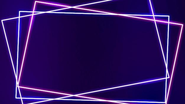 Rosa neonrahmen auf einem dunkelvioletten hintergrundvektor