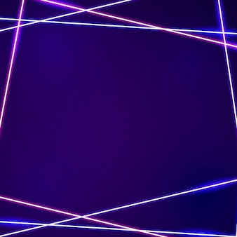 Rosa neonrahmen auf einem dunklen lila hintergrund