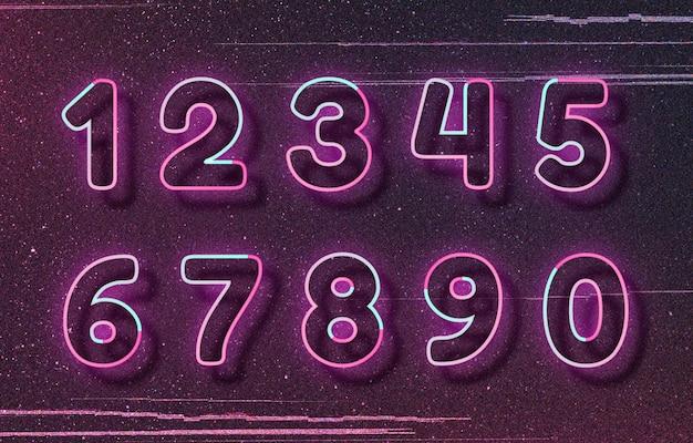 Rosa neonschriftart nummer typografie wortkunst