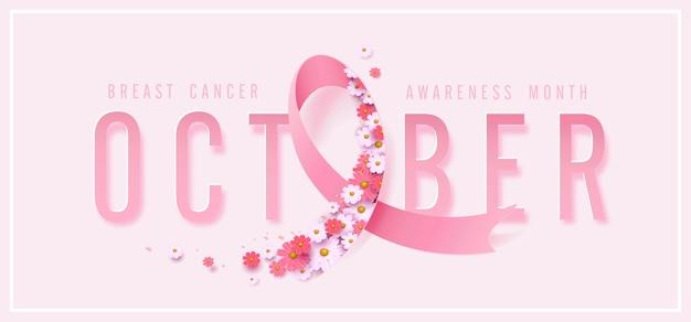 Rosa oktoberband und blumenhintergrund des brustkrebs-oktober-bewusstseinsmonats