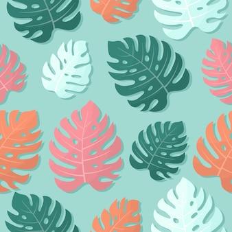Rosa orange grüne monstera-blätter auf blauem hintergrund nahtloses tropisches muster