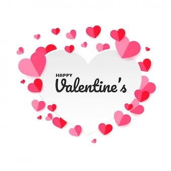 Rosa papierherz formte herzhintergrund für valentinstag.