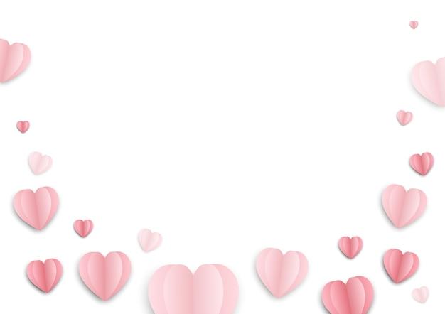 Rosa papierherzen zum valentinstag
