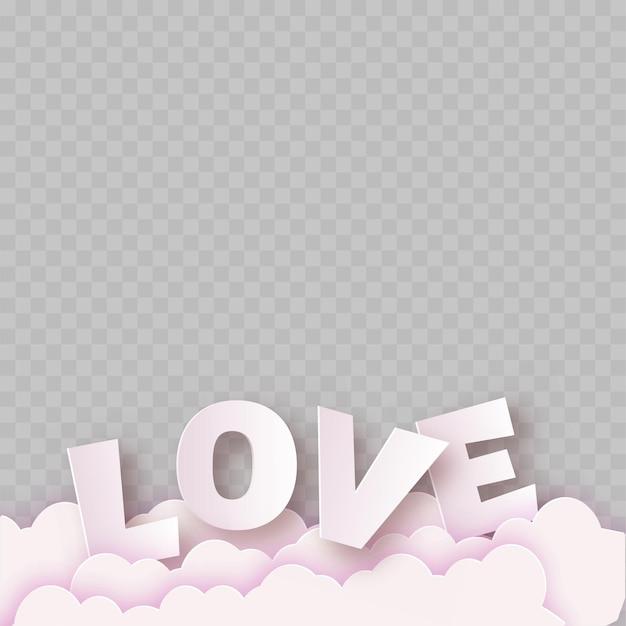 Rosa papierliebetext mit wolken auf transparentem hintergrund