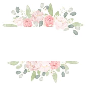 Rosa pastellaquarell-rosenblumenstrauß-anordnungsrahmen