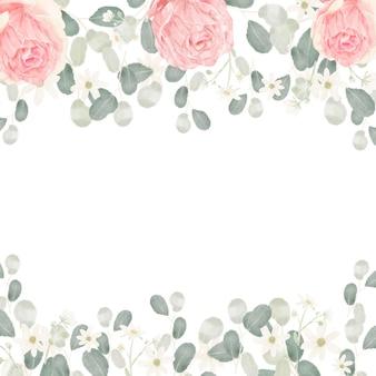 Rosa pastellaquarell-rosenblumenstrauß-anordnungsrahmenhintergrund
