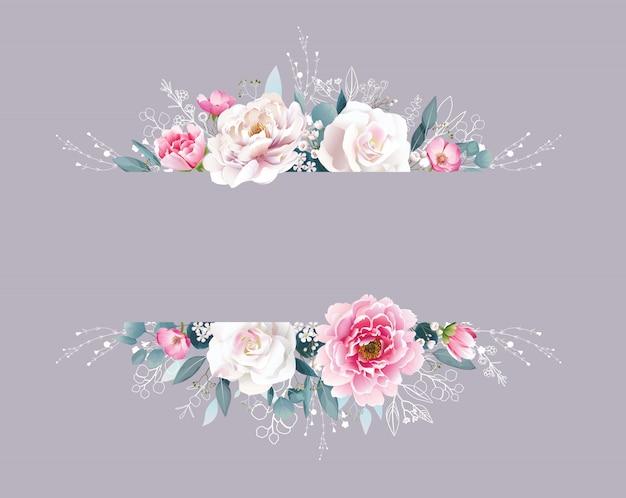 Rosa pfingstrose und rose blumenrahmen grenze