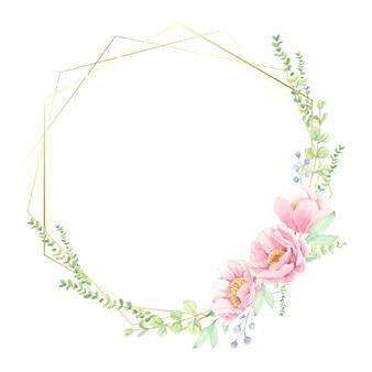 Rosa pfingstrosenblumenstrauß mit goldenem geometrischem kranzrahmen