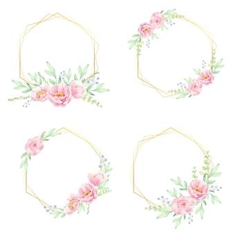 Rosa pfingstrosenblumenstrauß mit goldener geometrischer rahmenkollektion