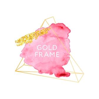 Rosa pinselstriche und goldener rahmen.