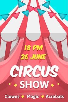 Rosa plakat des großen karikaturstils mit zirkus zeigen bearbeitbaren text an, der clowns magische akrobatenleistung ankündigt
