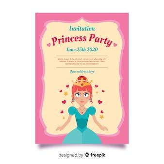 Rosa prinzessin party einladungsvorlage