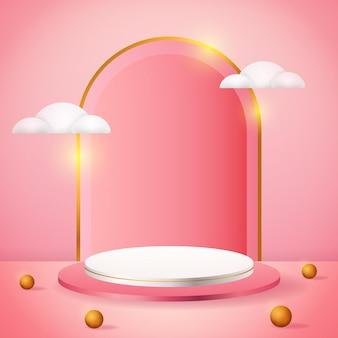 Rosa produktpodest der 3d-produktanzeige