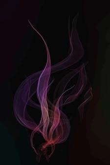 Rosa rauchelementvektor im schwarzen hintergrund