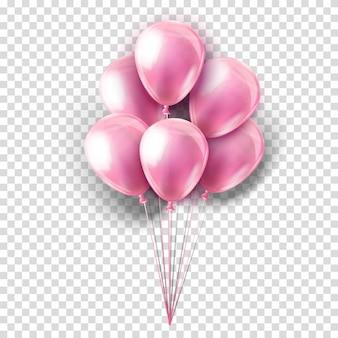 Rosa realistische sammlung von luftballons auf transparent. party dekoration für festival, geburtstag, jubiläum, babyparty oder feier.