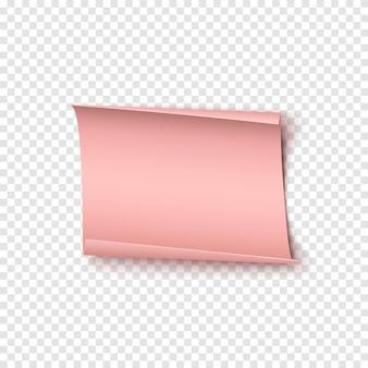 Rosa realistisches papierbanner.