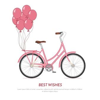 Rosa retro fahrrad withballoons befestigt am stamm. weinlesefarbfahrrad auf weißem hintergrund