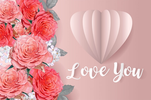 Rosa rose und herzballon