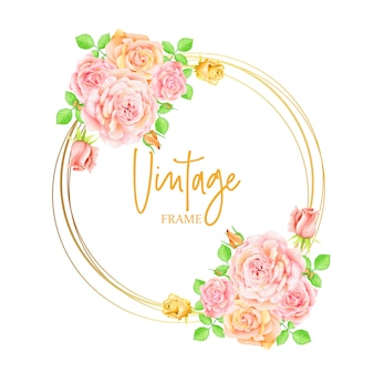 Rosa rosen-blumen, die einladung mit goldenem rahmen wedding sind