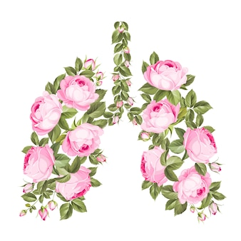 Rosa rosen in form der menschlichen lunge als symbol der gesundheit. speichern sie ihre gesundheit zu hause bleiben. coronavirus kann die lungenfunktion beeinträchtigen.
