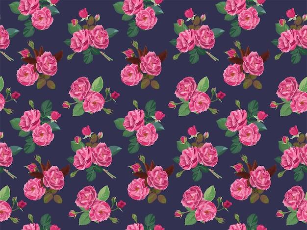 Rosa rosen oder pfingstrosen im nahtlosen muster der blüte