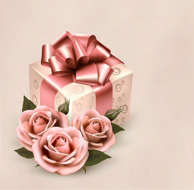 Rosa rosen und geschenkbox lokalisiert auf vintage rosa