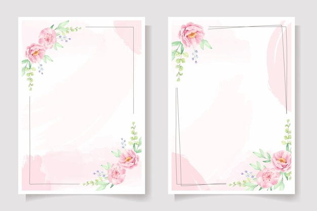 Rosa rosen- und pfingstrosenblumenrahmen auf rosa aquarell-spritzer