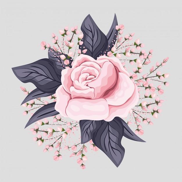Rosa rosenblume mit blattmalereientwurf, natürliche blumennaturpflanzenverzierungsgartendekoration und botanikthemaillustration