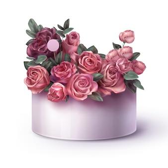 Rosa rosenblumenanordnung lokalisiert auf weiß