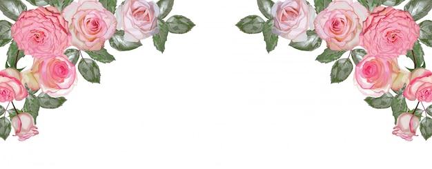 Rosa rosenblumenstrauß lokalisiert auf weißem hintergrund