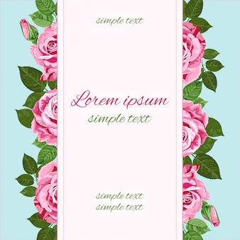 Rosa rosengrußkarte