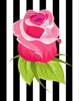 Rosa rosenknospe. vintage blume. hochzeitsblume textil- und kleidungsdesign-designverzierung stieg