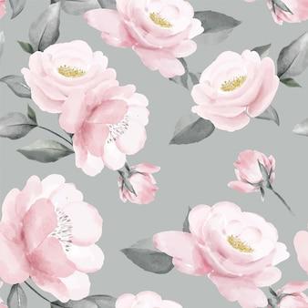 Rosa rosenstrauß-aquarellgrünblatt-blattkunst des nahtlosen blumenmusters