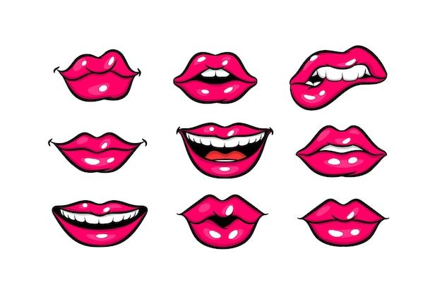 Rosa rote frauenlippen im pop-art-stil-set cartoon-mädchen bilden vektor-illustration