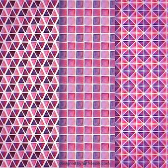 Rosa sammlung von geometrischen mustern